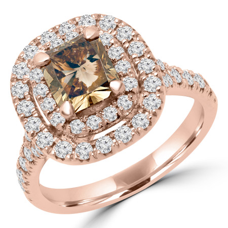 Radiant Cut Champagen Diamond Multi-Stone 4-Prong Vintage Double Halo Engagement Ring with Round Diamond Accents in Rose Gold - #SOLESTE-RAD-CHM-R