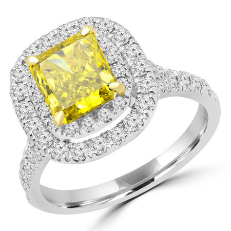 Radiant Cut Yellow Diamond Multi-Stone 4-Prong Vintage Double Halo Engagement Ring with Round Diamond Accents in White Gold - #SOLESTE-RAD-YEL-W