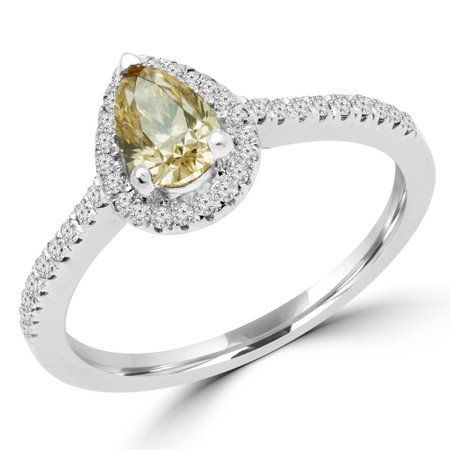 Pear Cut Champagne Diamond Multi-Stone 4-Prong Vintage Halo Engagement Ring with Round Diamond Accents in White Gold - #SOPHIA-PEAR-CHM-W