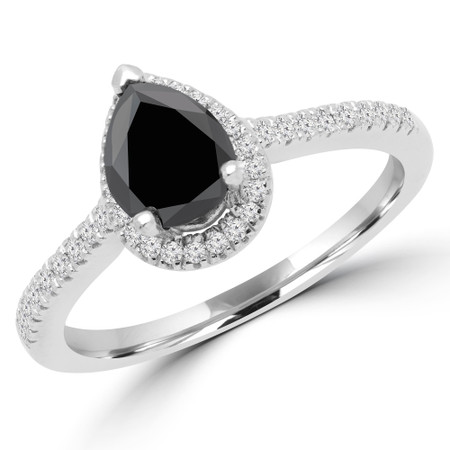 Pear Cut Black Diamond Multi-Stone 4-Prong Vintage Halo Engagement Ring with Round Diamond Accents in White Gold - #SOPHIA-PEAR-BLK-W