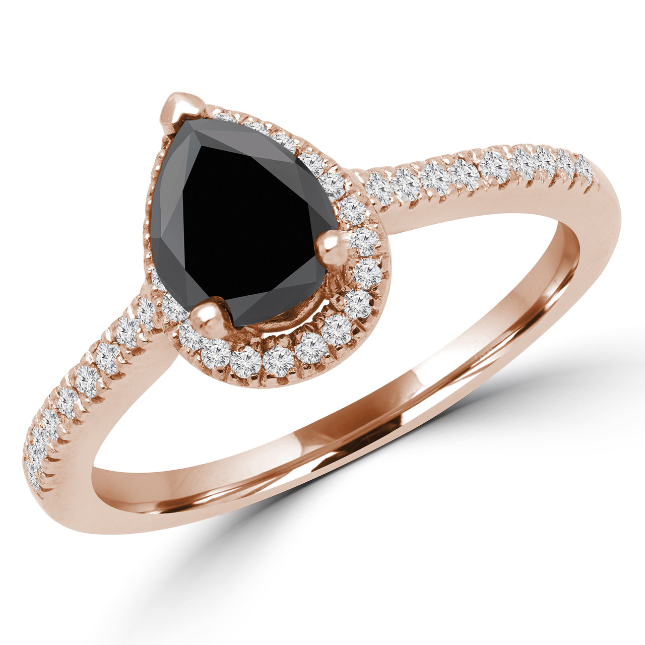 Pear Cut Black Diamond Multi Stone 4 Prong Vintage Halo Engagement Ring With Round Diamond Accents In Rose Gold Sophia Pear Blk R Bijoux Majesty