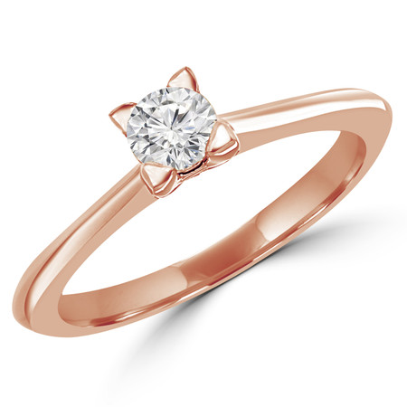 Round Cut Diamond Solitaire Tapered-Shank 4-Prong Engagement Ring in Rose Gold - #SRD2656-SM-R