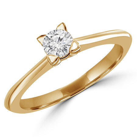 Round Cut Diamond Solitaire Tapered-Shank 4-Prong Engagement Ring in Yellow Gold - #SRD2656-SM-Y