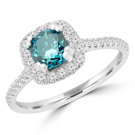 Cushion Cut Blue Diamond 4 Prong Cushion Halo Multi Stone Engagement Ring in White Gold - #STEPH-CU-BLUE-W