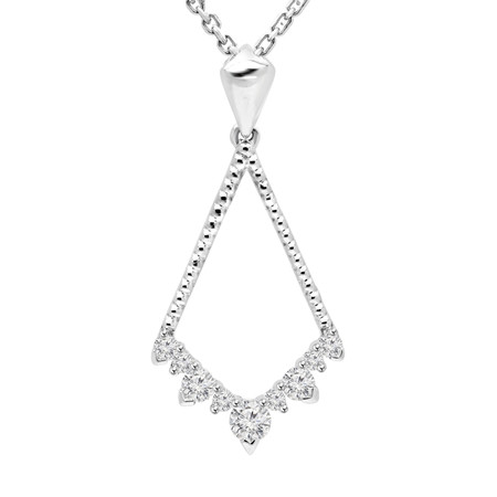 Round Cut Diamond Multi-Stone Shared-Prong Drop Pendant Necklace with Chain in White Gold - #URB-P-3059-W