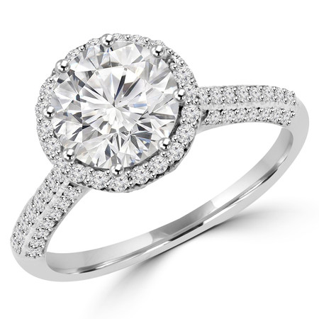 Round Cut Diamond Multi-Stone 4-Prong Halo Engagement Ring in White Gold - #VANESSA-W