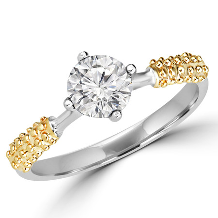 Round Cut Diamond Solitaire 4-Prong Engagement Ring in Two-tone Gold - #YWA0131-W-Y