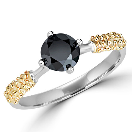 Round Cut Black Diamond Solitaire 4-Prong Engagement Ring in Two-tone Gold - #YWA0131-BLK-W-Y