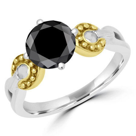 Round Cut Black Diamond Solitaire 4-Prong Engagement Ring in Two-tone Gold - #YWA0020B-BLK-W-Y