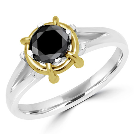 Round Cut Black Diamond Solitaire 4-Prong Engagement Ring in Two-tone Gold - #YWA0015A-BLK-W-Y