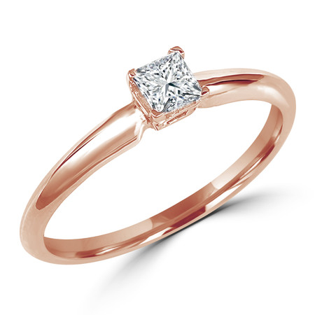 Princess Cut Diamond Solitaire 4-Prong Engagement Ring in Rose Gold - #S4P-R
