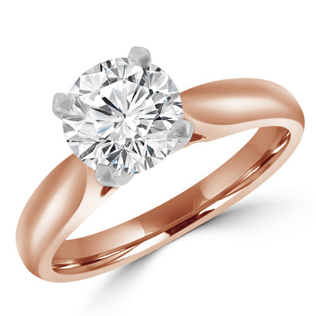 Round Cut Diamond Solitaire 4-Prong Cathedral-Set Engagement Ring in Rose Gold - #1244L-SMALL-R