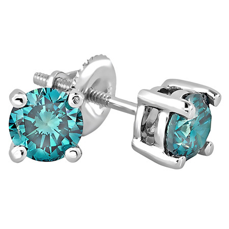 Round Cut Blue Diamond Solitaire 4-Prong Stud Earrings in White Gold - #R418-W-BLUE