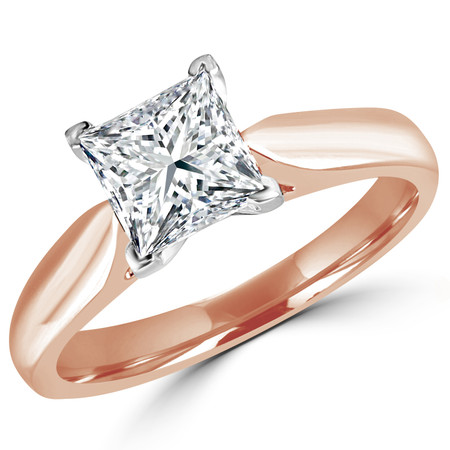 Princess Cut Diamond Solitaire V-Prong Engagement Ring in Rose Gold - #1244LP-SMALL-R
