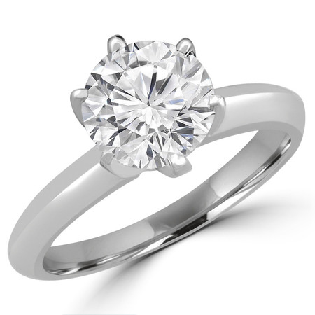 Round Cut Diamond Solitaire 6-Prong Knife-Edge Engagement Ring in White Gold - #1956-SMALL-W