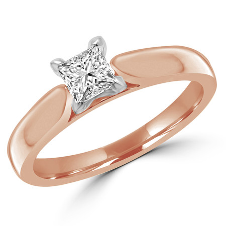 Princess Cut Diamond Solitaire V-Prong Engagement Ring in Rose Gold - #2545LP-SMALL-R