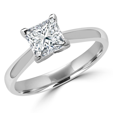 Princess Cut Diamond Solitaire Tapered-Shank V-Prong Cathedral-Set Engagement Ring in White Gold - #2309LP-SMALL-W