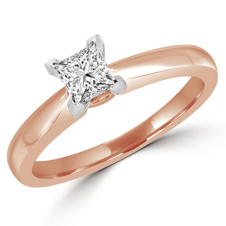 Princess Cut Diamond Solitaire V-Prong Engagement Ring in Rose Gold - #2546LP-SMALL-R