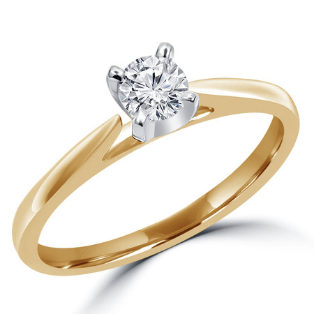Round Cut Diamond Solitaire Cathedral Set 4-Prong Engagement Ring in Yellow Gold - #356L-SMALL-Y