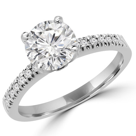 Round Cut Diamond Multi-Stone 4-Prong Engagement Ring with Round Diamond Scallop-Set Accents in White Gold - #2303L-SMALL-W