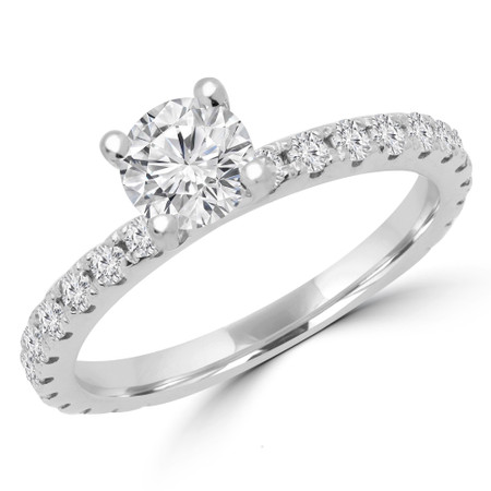 Round Cut Diamond Multi-Stone 4-Prong Engagement Ring with Round Diamond Accents in White Gold - #ELIAS-SMALL-W