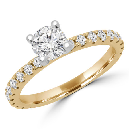 Round Cut Diamond Multi-Stone 4-Prong Engagement Ring with Round Diamond Accents in Yellow Gold - #ELIAS-SMALL-Y
