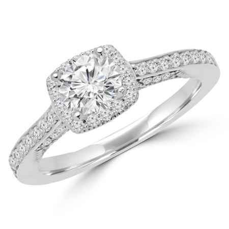 Round Cut Diamond Multi-Stone 4-Prong Halo Engagement Ring with Round Diamond Accents in White Gold - #CHANELLE-SMALL-W