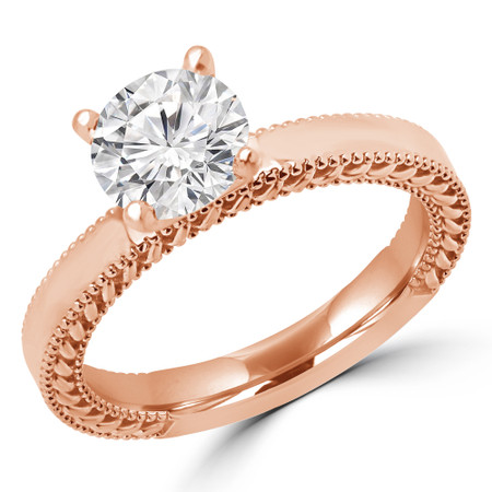 Round Cut Diamond Solitaire 4-Prong Engagement Ring in Rose Gold - #IDA-SMALL-R