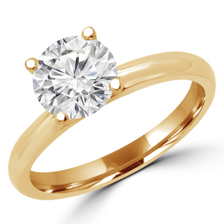 Round Cut Diamond Solitaire 4-Prong Engagement Ring in Yellow Gold - #BONNIE-SMALL-Y