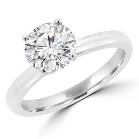 Round Cut Diamond Solitaire 4-Prong Engagement Ring with Round Diamond Accents in White Gold - #LENA-SMALL-W