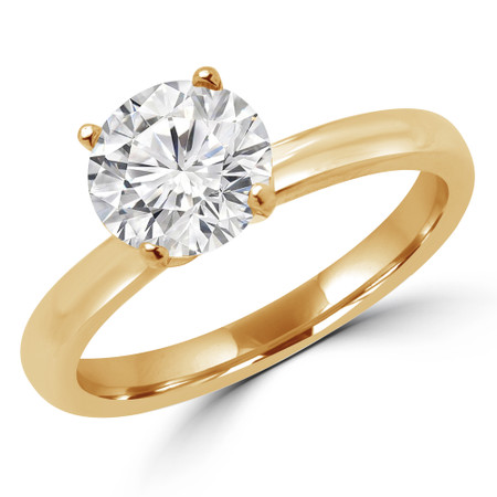 Round Cut Diamond Solitaire 4-Prong Engagement Ring with Round Diamond Accents in Yellow Gold - #LENA-SMALL-Y