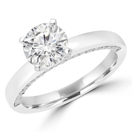 Round Cut Diamond Multi-Stone 4-Prong Engagement Ring with Round Diamond Accents in White Gold - #KADY-SMALL-W