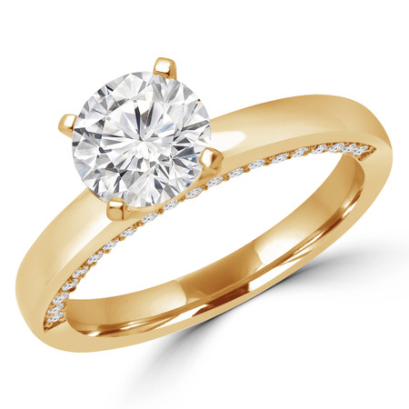 Round Cut Diamond Multi-Stone 4-Prong Engagement Ring with Round Diamond Accents in Yellow Gold - #KADY-SMALL-Y