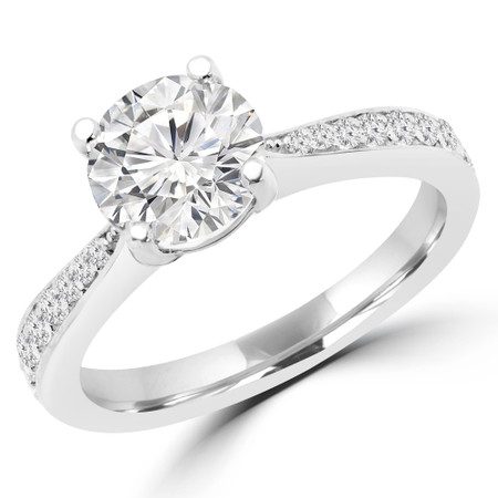 Round Cut Diamond Multi-Stone 4-Prong Engagement Ring with Round Diamond Accents in White Gold - #JEANNE-SMALL-W