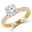 Round Cut Diamond Multi-Stone 4-Prong Engagement Ring with Round Diamond Accents in Yellow Gold - #JEANNE-SMALL-Y