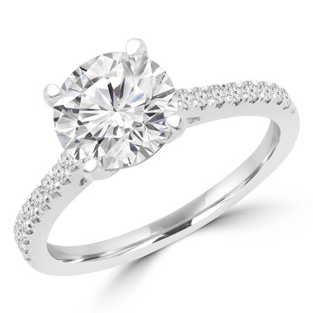 Round Cut Diamond Multi-Stone 4-Prong Engagement Ring with Round Diamond Accents in White Gold - #KLARA-SMALL-W