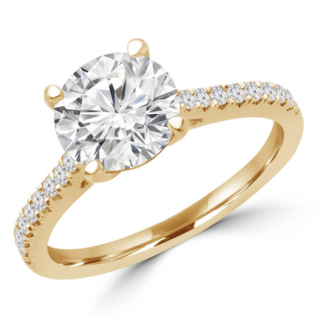 Round Cut Diamond Multi-Stone 4-Prong Engagement Ring with Round Diamond Accents in Yellow Gold - #KLARA-SMALL-Y