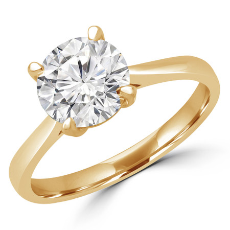 Round Cut Diamond Solitaire Engagement Ring in Yellow Gold - #CALISTA-Y
