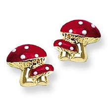 Red and White Enamel Mushroom Stud Baby Earrings in 14K Yellow Gold - #AD-145