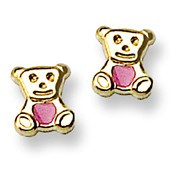 Teddy Bear Stud Baby Earrings with Pink Enamel Accents in 14K Yellow Gold - #AD-130