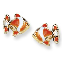 Orange and White Enamel Clown Fish Stud Baby Earrings in 14K Yellow Gold - #AD-108