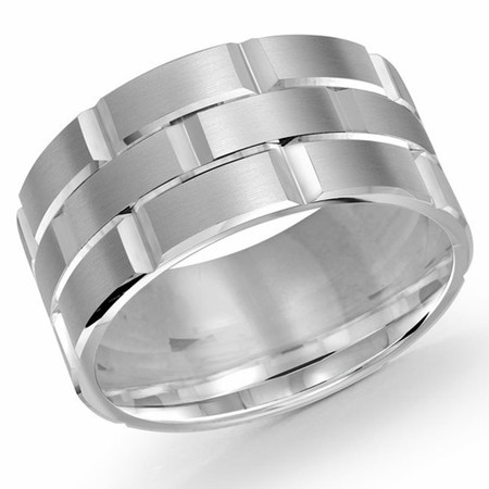 Men's 11 MM all white  gold brick motif satin finish band with high polished grooved accents (MDVB0020) - #FJM-002W