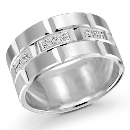Men's 11 MM all white gold brick motif band, embellished with 24 X .015 CT diamonds (MDVB0056) - #FJMD-002W