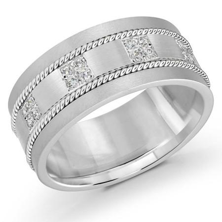 Men's 10 MM white gold brick motif band, embellished with 16 X .015 CT diamonds (MDVB0057) - #FJMD-009