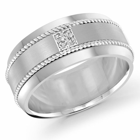 Men's 10 MM all white gold band, embellished with 4 X .015 CT diamonds (MDVB0060) - #FJMD-011W