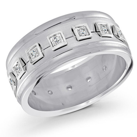 Men's 10 MM all white gold band, embellished with 16 X .015 CT diamonds (MDVB0071) - #FJMD-066WG