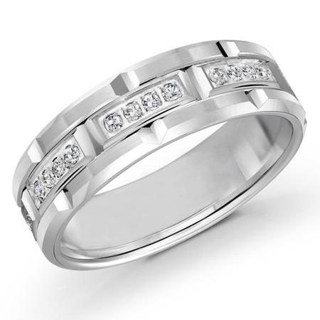 Men's 7 MM all white gold brick motif band, embellished with 32 X .01 CT diamonds (MDVB0076) - #FJMD-073W