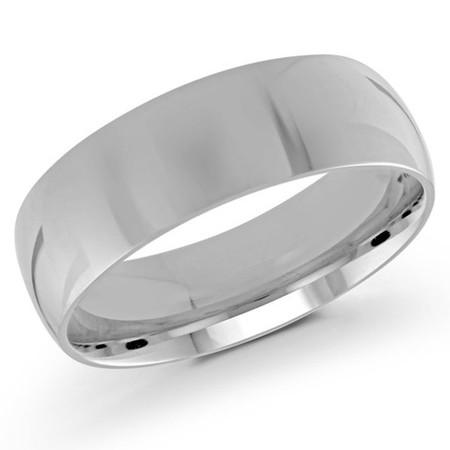 Men's 7 MM white gold dome comfort fit band (MDVB0102) - #J-100-720G