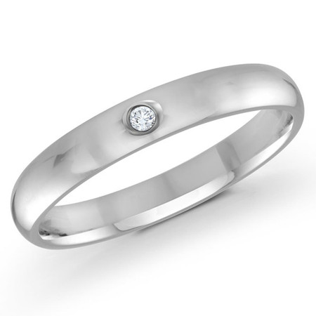 Men's 3 MM white gold dome comfort fit band, embellished with a .01 CT diamond (MDVB0112) - #J-101-320FD1