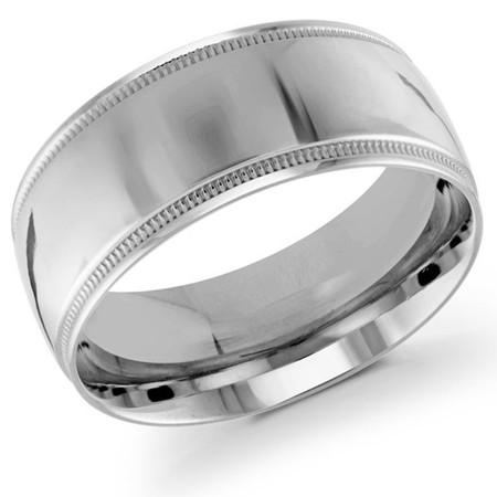 Men's 10 MM milgrain edge dome comfort fit white gold band (MDVB0119) - #J-103-020G